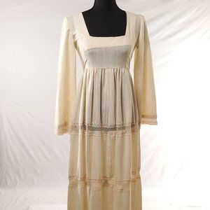 Womens Linen Festival Boho Prairie Dress